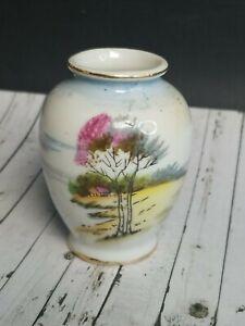 "Vtg Mini Minature Tree Scenry Vase Occupied Japan Hand Painted Porcelain 2.5"""