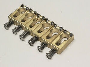 "KGC Keyhole Brass Saddles - 2-1/16"" Spaced MIM Fender Strat etc - USA Made!"