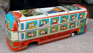 VINTAGE MTI TRADEMARK-OLYMPIC TRAVELS LITHO PRINT FRICTION TIN TOY BUS