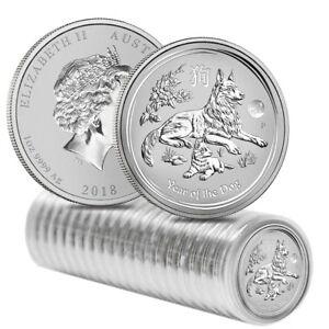 Roll of 20 - 2018 1 oz Silver Lunar Year of The Dog Lion Privy BU Perth Mint