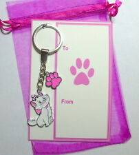 AristoCat Marie Novelty Cat Key Ring with Pink Paw Print Charm on Gift Card