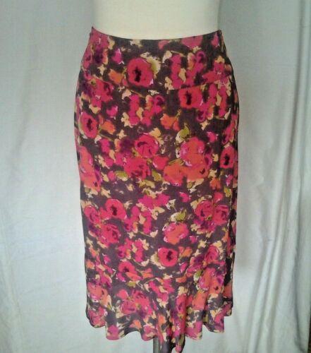 Adini moss crepe 100/% viscose skirt frill hem fixed waistband side zip printed