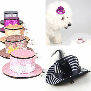 Dog-Hair-Clips-Small-Top-Hat-Hairpin-Shiny-Pet-Puppy-Cat-Headwear-Accessories