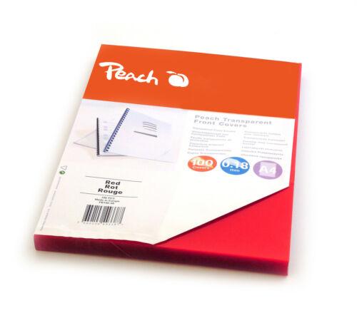 100 Blatt 0.18mm rot Peach Klarsicht Einbanddeckel durchsichtig A4