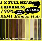 THICK CLIP IN REMY HUMAN HAIR EXTENSIONS Brown Blonde Black