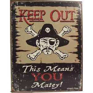 Officially-Licensed-Dewey-Moore-Keep-Out-Matey-Vintage-Metal-Sign