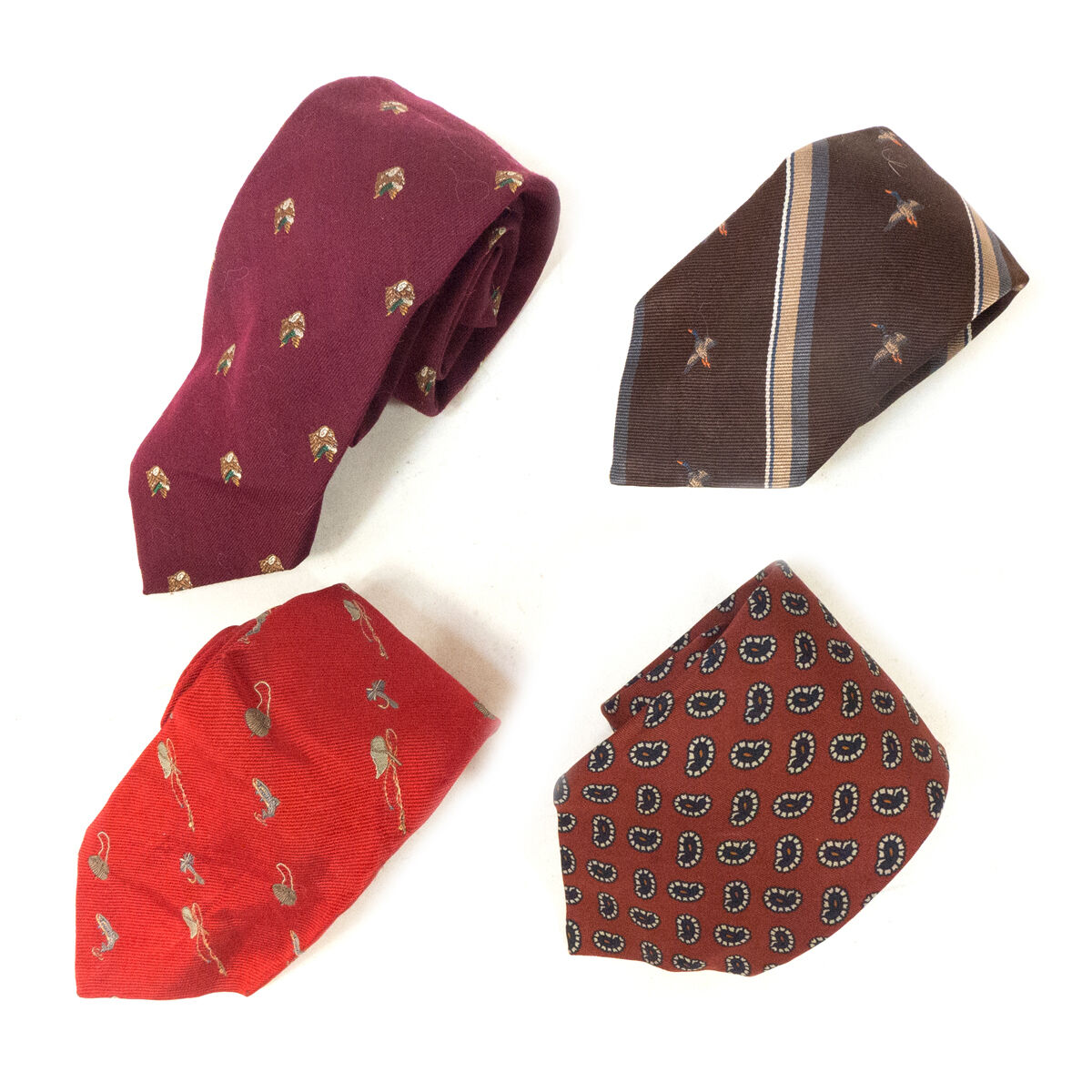 #10 Mixed Lot of 4 Vintage Men's ALBERT Designer Red, Brown Colored Neck Ties