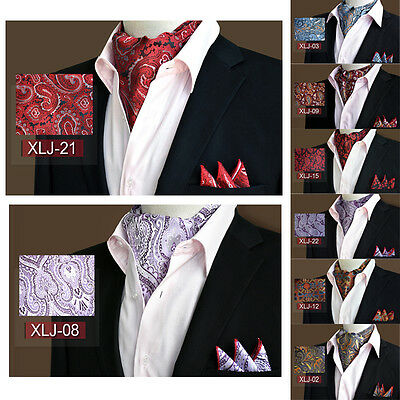 Classic Party Polyester Silk Ascot Paisley Floral Cravat Handkerchief Set