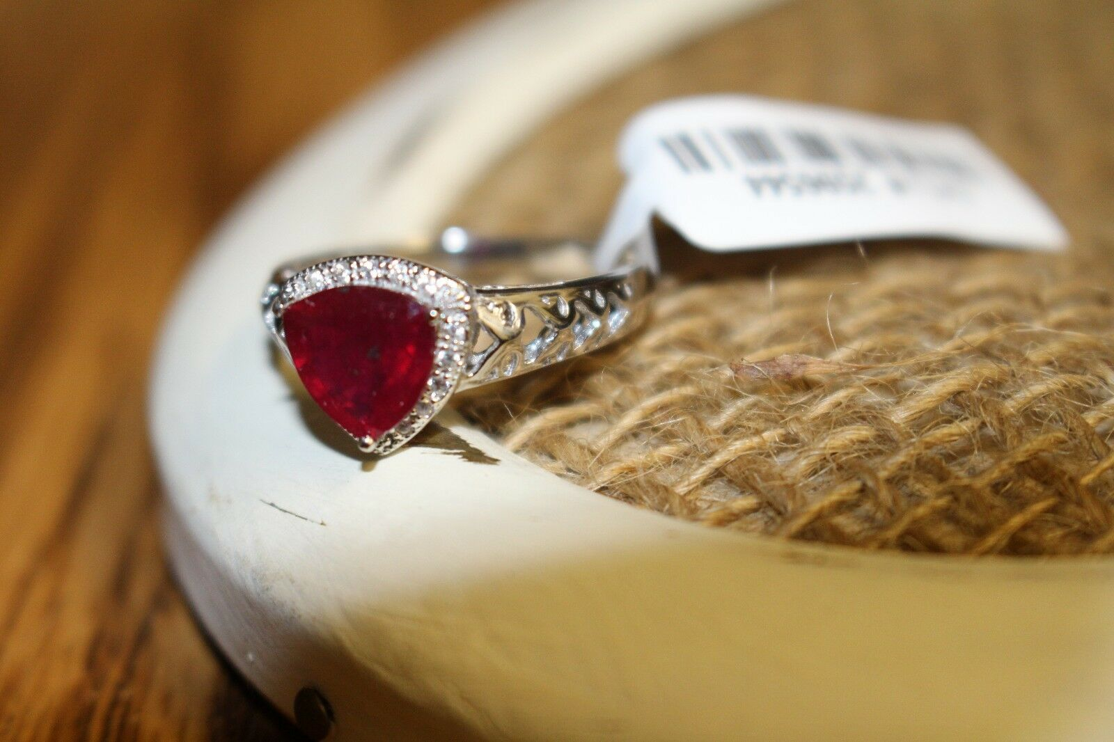 Ruby and White Zircon Ring, 2.340 TGW, Size 8 NWT and gift box