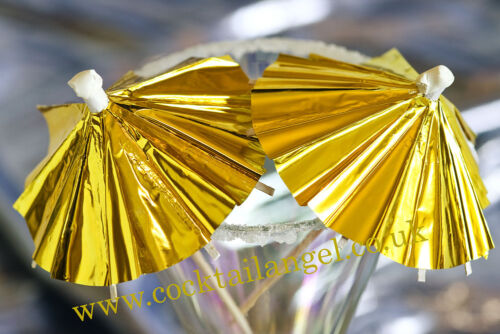 /'Post Lockdown Party/' 20 GOLD METALLIC COCKTAIL UMBRELLAS /& 20 GOLD PAPER STRAW