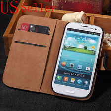 Genuine Luxury Real Leather Flip Wallet Case Cover For Samsung Galaxy S3 i9300