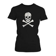 USA Skull Damen T-Shirt Totenkopf stars stripes flagge amerika knochen rocker us