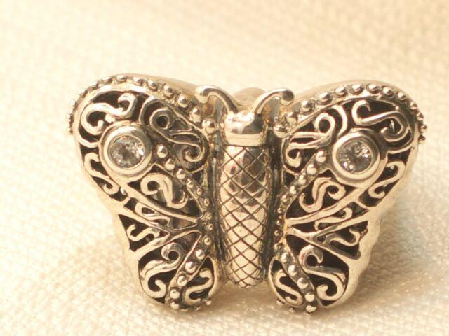 Estate Sterling Silver Barry Kieselstein Cord Butterfly Ring CZ KC Studio .925