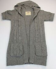 *HOLLISTER* SIZE S WOMEN'S GRAY KNIT HOODED CARDIGAN SWEATER W/RABBIT HAIR