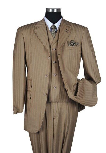 Men's 3pc Classic Three Button Striped Suit w  Vest 5267 color Tan