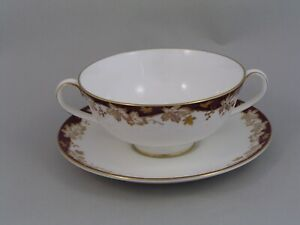 ROYAL-DOULTON-WINTHROP-TWO-HANDLED-SOUP-COUPE-AND-SAUCER