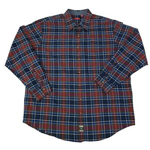 Izod-Mens-2XLT-Tall-Blue-Red-Green-plaid-Long-Sleeve-Button-Front-Shirt