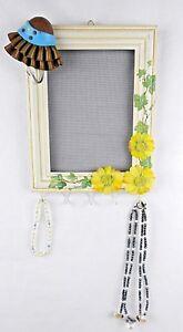 914 x 714 HandmadeHanging White Wood Frame Jewelry Organizer w