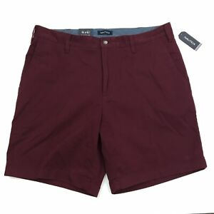 NEW-Men-039-s-Nautica-Deck-Short-Classic-Fit-Flat-Front-Stretch-Chino-Maroon-Red