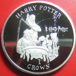 2001-ISLE-OF-MAN-1-CROWN-SILVER-PROOF-HARRY-POTTER-IN-SCHOOL-034-POTIONS-CLASS-034-RRR