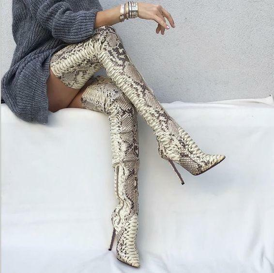 Snake skin over knee high bottes femmes Stiletto Leather Nightclub Party chaussures 18
