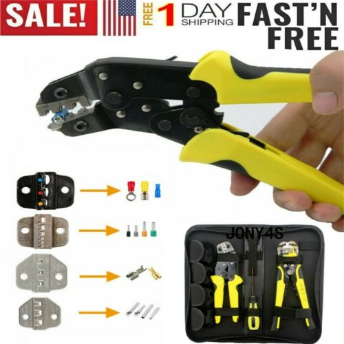 4In1 Wire Crimpers Ratcheting Terminal Crimping Pliers Cord End Terminals Tools