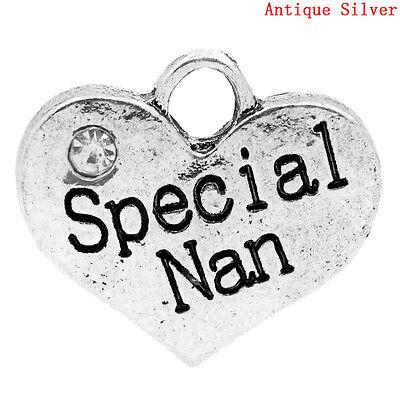 5 ANTIQUE SILVER SPECIAL~NAN HEART CHARMS PENDANT ~ EMBELLISHMENTS~CHAINS (74D)