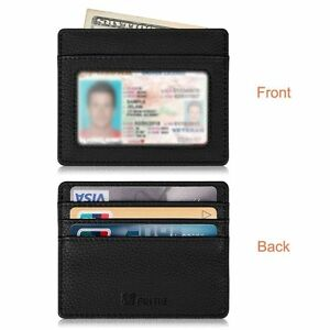 Credit Card Holder Case with ID Window - [RFID Blocking] Leather Wallet Sleeve
