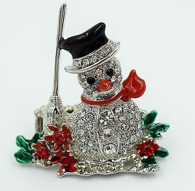 Xmas Snowman Stretch Ring Crystal Rhinestone Holiday Jewelry Silver-Multi RD12
