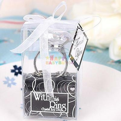 Big size Faux Diamond Ring Keychain Wedding Bridal Shower White 3cm x 5cm