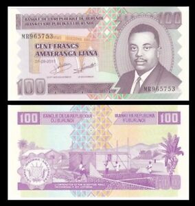 BURUNDI-100-Francs-2011-P-44b-UNC-World-Currency