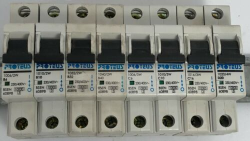 Proteus Geyer 3W Series 10Ka Type B C D Single Pole MCB Circuit Breaker