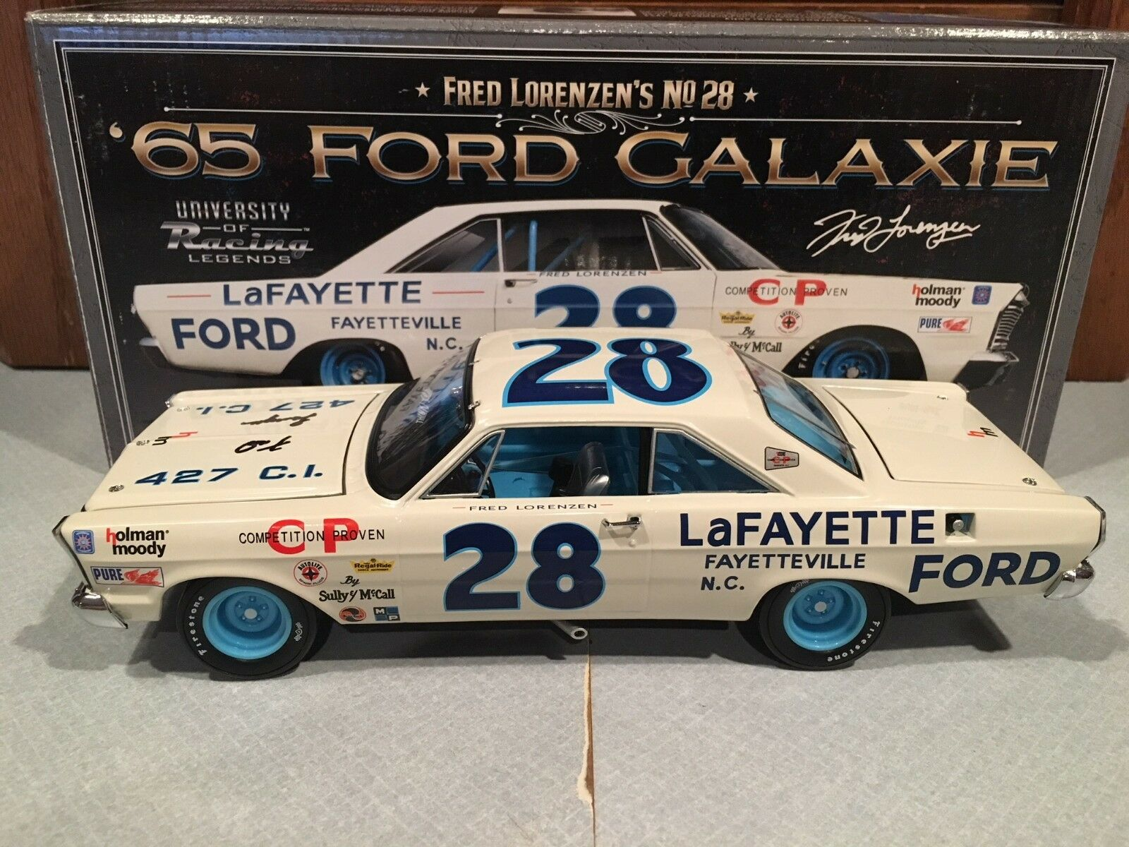 Autographed University of  Racing 1965 Frouge Lorenzen Lafayette Ford Galaxie 1 24  à la mode