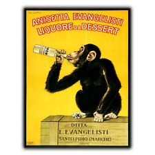 ANISETTA EVANGELISTI LIQUOR Italian Drinking Chimpanzee METAL SIGN WALL PLAQUE