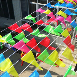 Multi-Color-Pennant-Banners-String-Flags-Triangle-Party-Decor-Nylon-50m-Rope