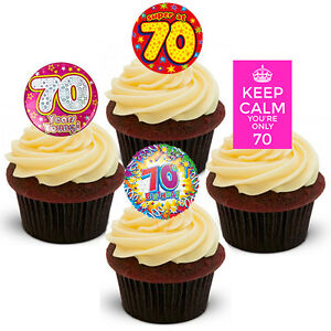 Image Is Loading 70th Birthday Female Edible Cupcake Toppers Stand Up