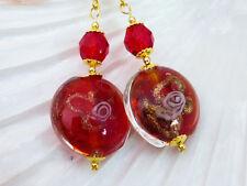 Beautiful Red & Gold Lampwork Glass Coin Drop Dangle Pierced Earrings
