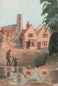 KERSEY-VILLAGE-FORD-amp-CHURCH-SUFFOLK-Antique-Watercolour-Painting-c1930
