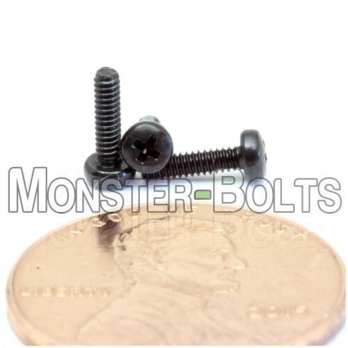 Qty 10 M1.6 x 6mm DIN 7985 A  Black Steel Phillips Pan Head Machine Screws