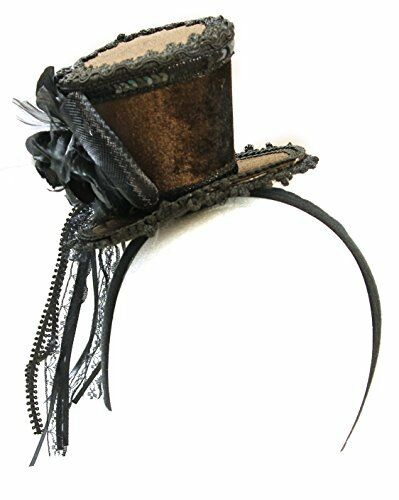 100% Vrai Femmes Velours Marron Décoration Steampunk Mini Chapeau Haut Bandeau Fabrication Habile