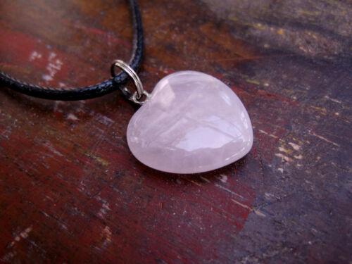 Rosenquarz Herz Anhänger Halsband Schmuckband Halskette Herzanhänger 2 x 2 cm