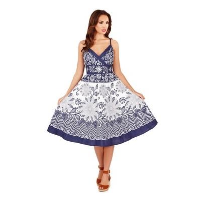 Womens Summer Dress 100% Cotton V Neck Floral Mid Length Ladies Size UK 8 - 16