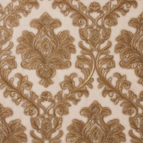 Exclusive Sparkle 2 Cream//Gold Damask Glitter Wallpaper Q102