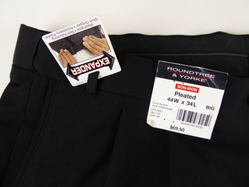 Roundtree /& Yorke Easy Care Non Iron Pleated Expander Waist Dress Pants $69  NWT