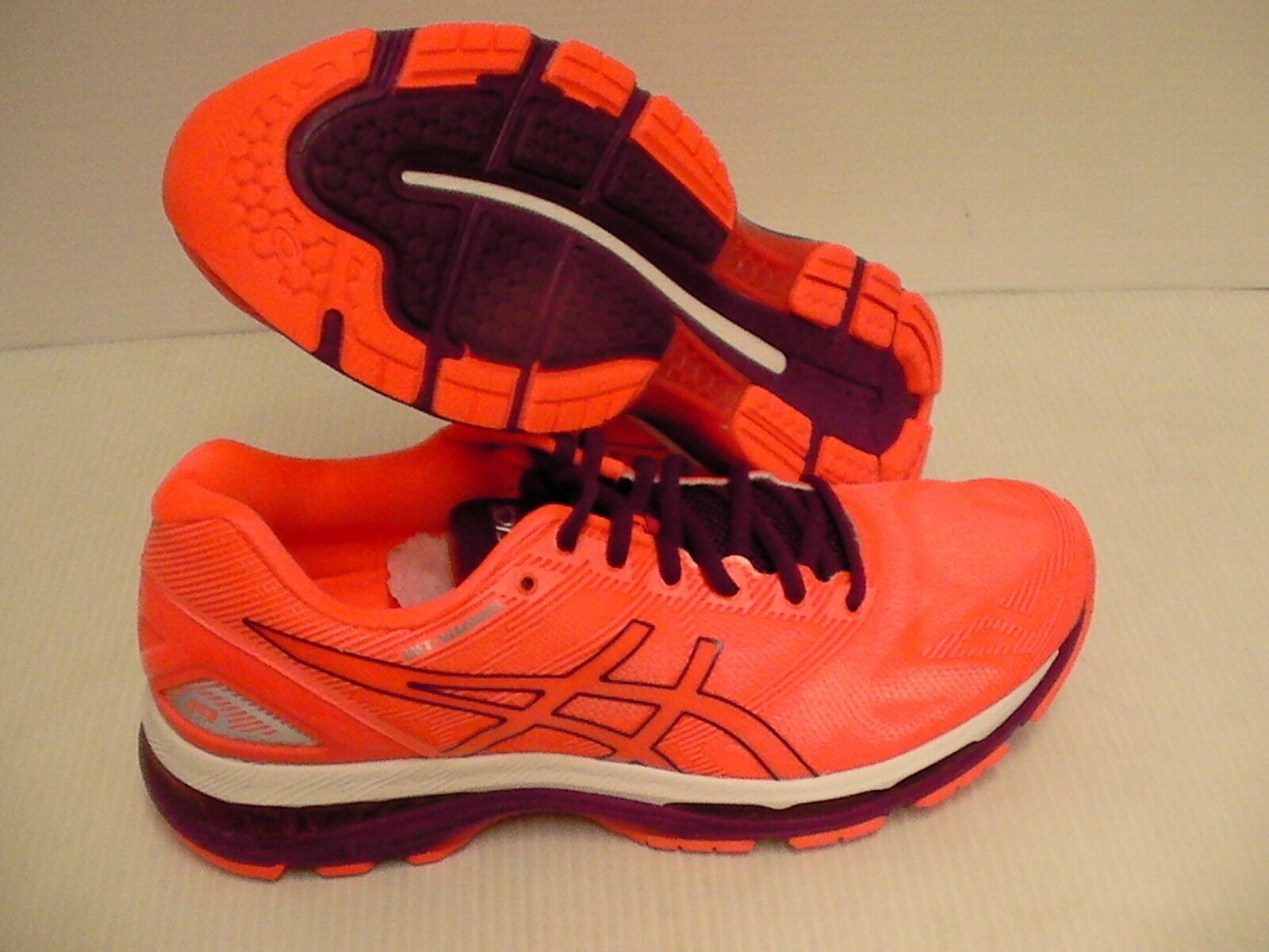 Asics womens gel nimbus 19 running shoes flash coral dark purple white size 10 Cheap and beautiful fashion