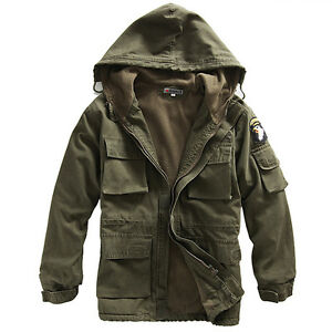 Mens Coat Military Cotton Fleece Hooded Warm Jacket Outerwear ...