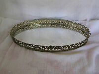 Vintage Large Oval Gold Filigree Rim & Mirror Perfume Makeup Vanity Dresser Tray