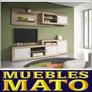 MUEBLE DE SALON LARA CAMBRIAN Y BLANCO MATE - LIBRERIA TV SALA ...