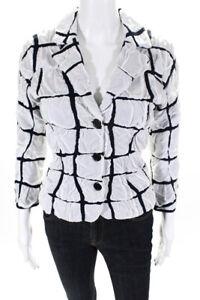 Paula Hian Womens Long Sleeve Davaney Blazer Jacket White Navy Blue Size Small