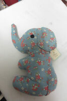 Elephant Nursery Decor Plush In Vintage Style Prints Blue Pink Girl W Flower